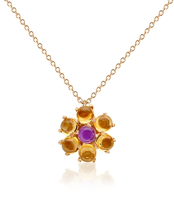 Forzieri - Amethyst and Citrine Flower 18K Gold Pendant Necklace