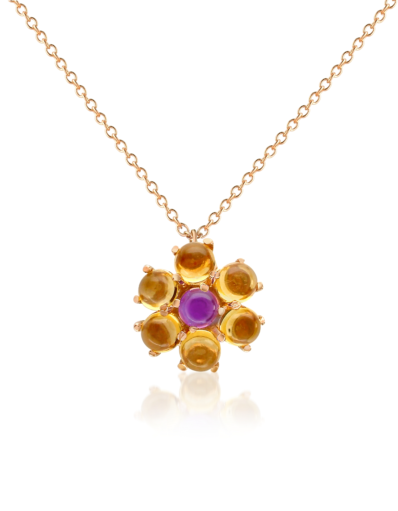 Forzieri Necklaces, Amethyst and Citrine Flower 18K Gold Pendant Necklace