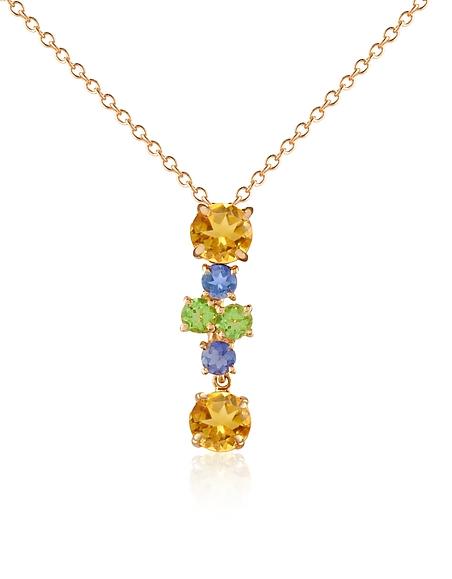 Forzieri Collana con pendente in oro 18ct e gemme preziose