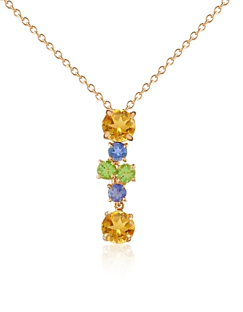 Forzieri - Multicolor Gemstone 18K Gold Pendant Necklace