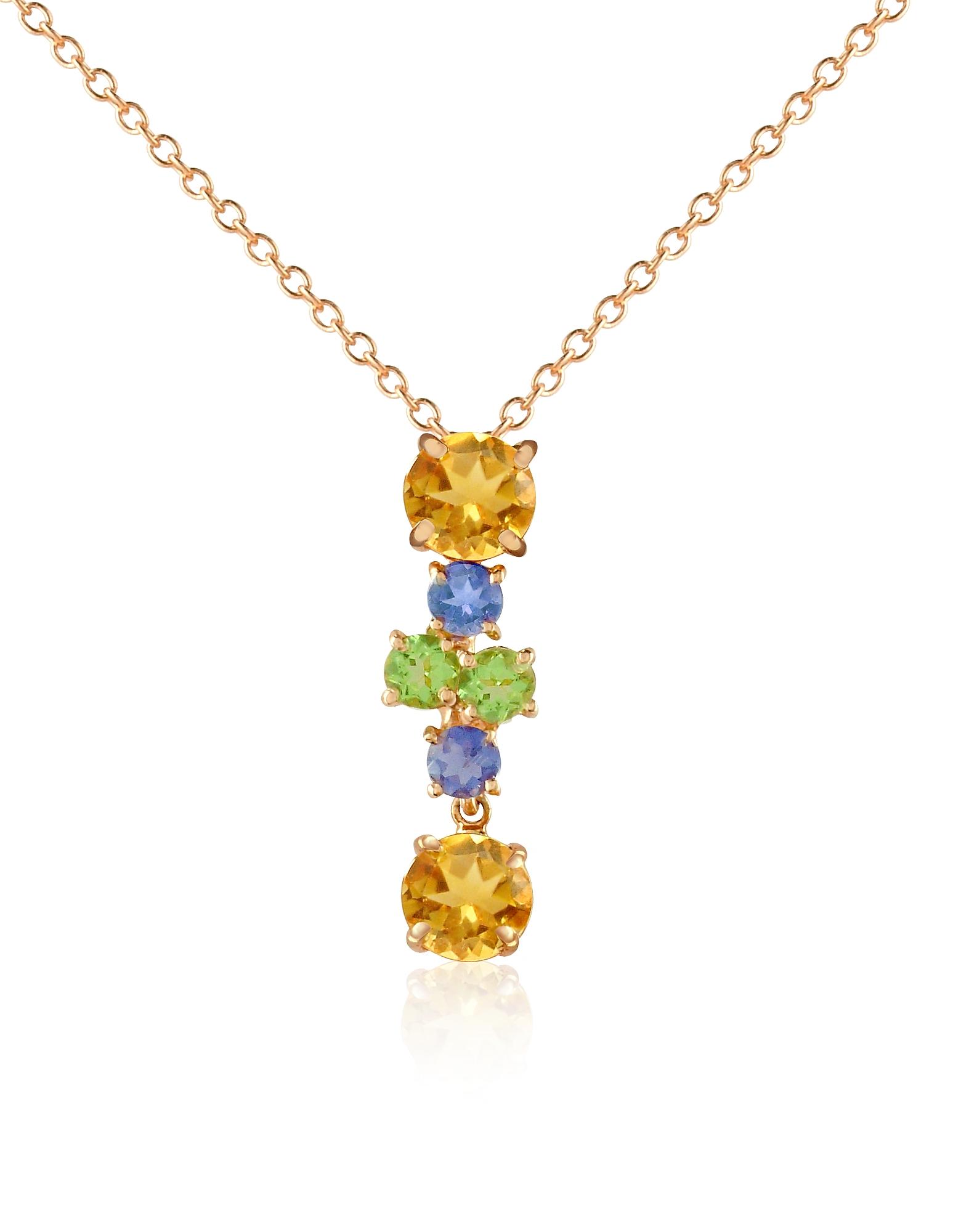 Колье из Золота 18 карат с Подвеской из Разноцветных Камней