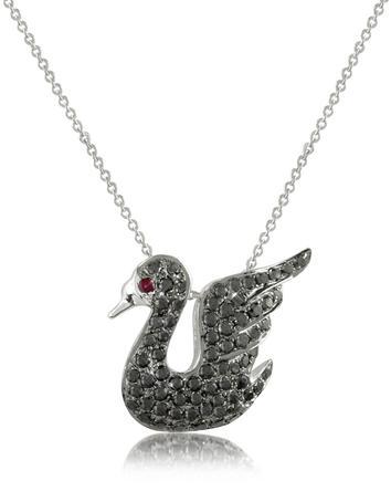 Forzieri Medici - Black Diamond Swan 18K Gold Pendant Necklace