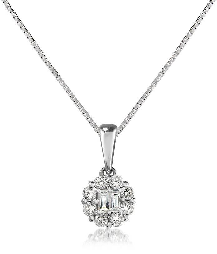 Diamond 18K Gold Flower Pendant Necklace - Forzieri