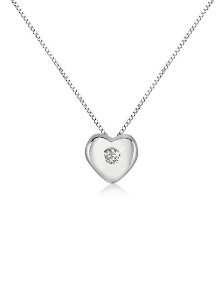 Foto Forzieri Princess - Collana in Oro Bianco 18k con Pendente Cuore e Diamante 0,15ct Collane