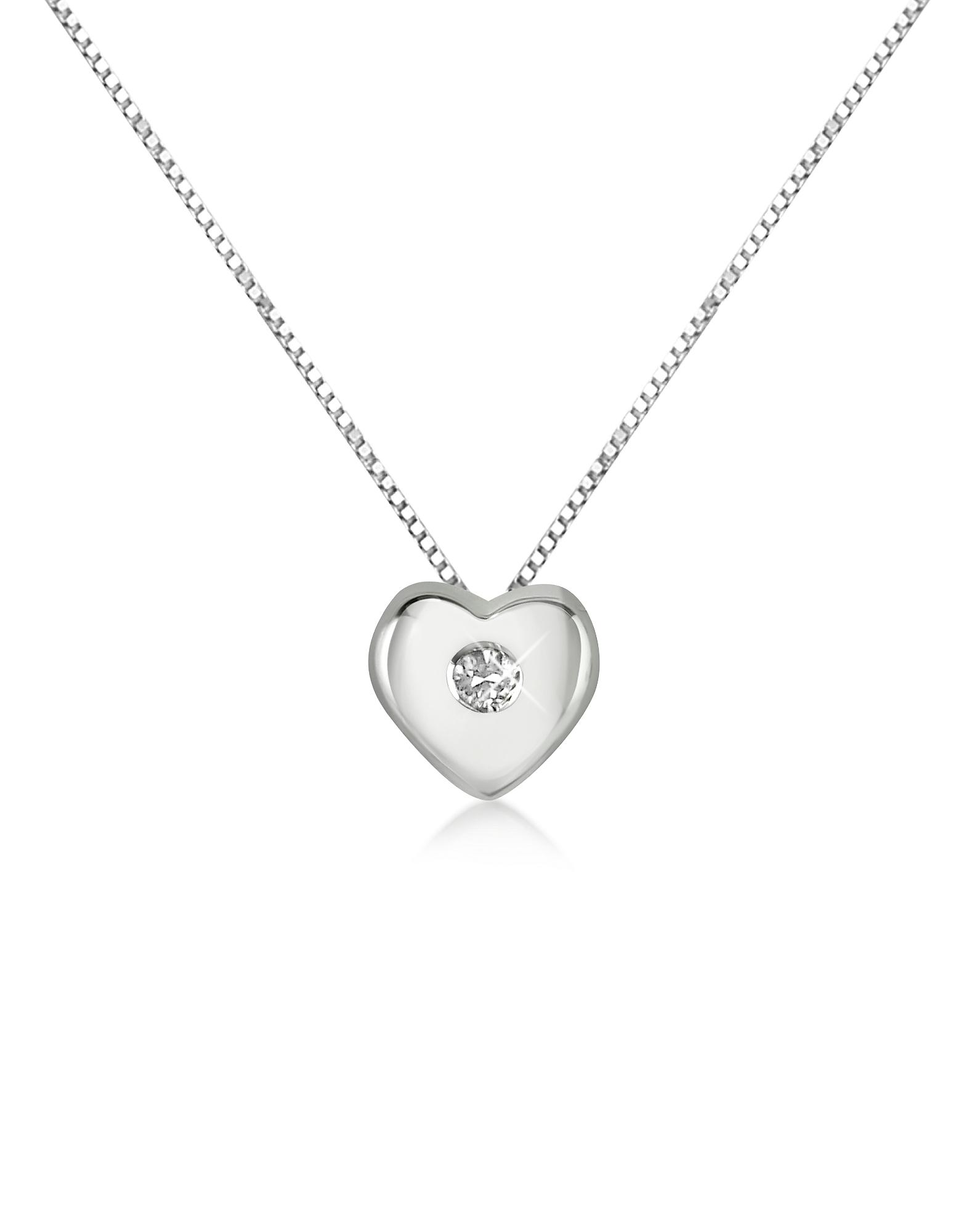 Princess - Цепочка с Кулоном-Сердцем из Золота 18 карат и Бриллиантом 0.15 карата