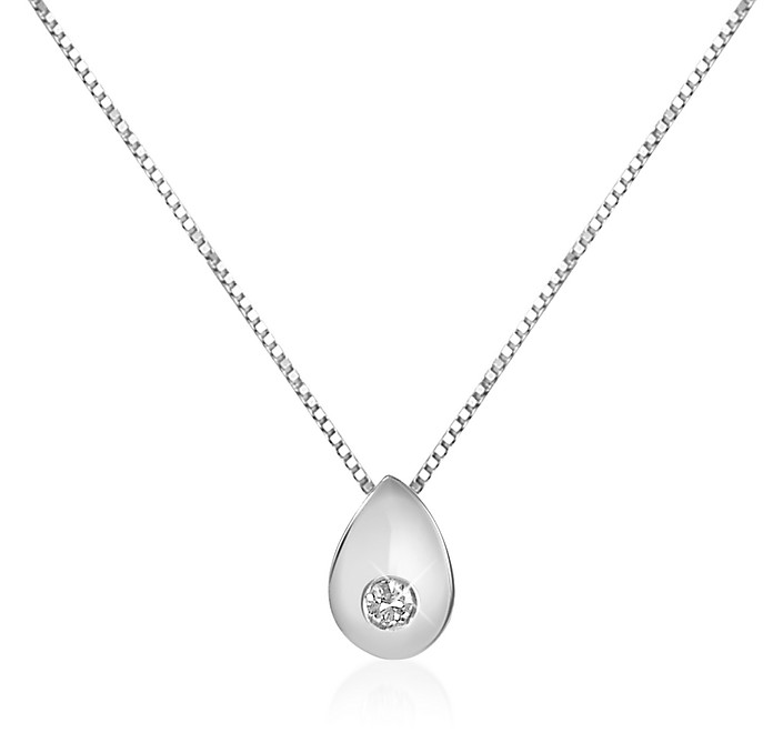 0.02 ct Diamond Drop 18K Gold Necklace - Forzieri