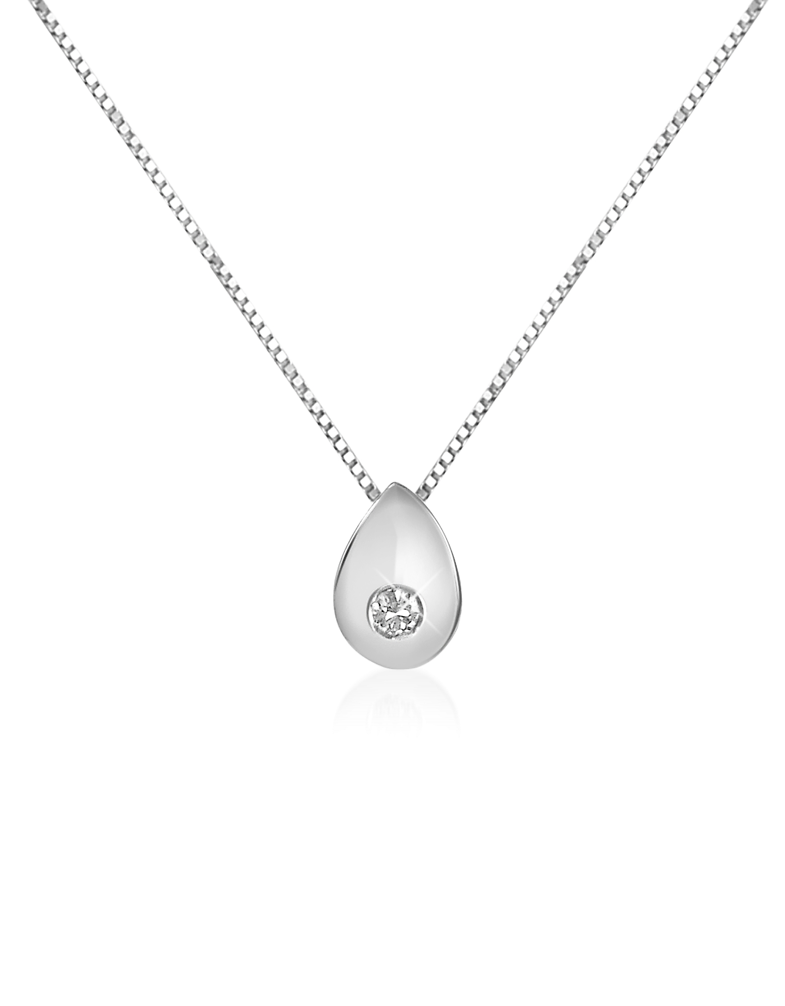 Forzieri Necklaces, 0.02 ct Diamond Drop 18K Gold Necklace