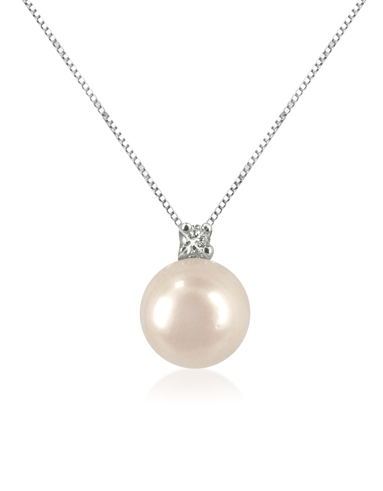 Image of 0.035 ct Diamond and Pearl 18k Gold Necklace