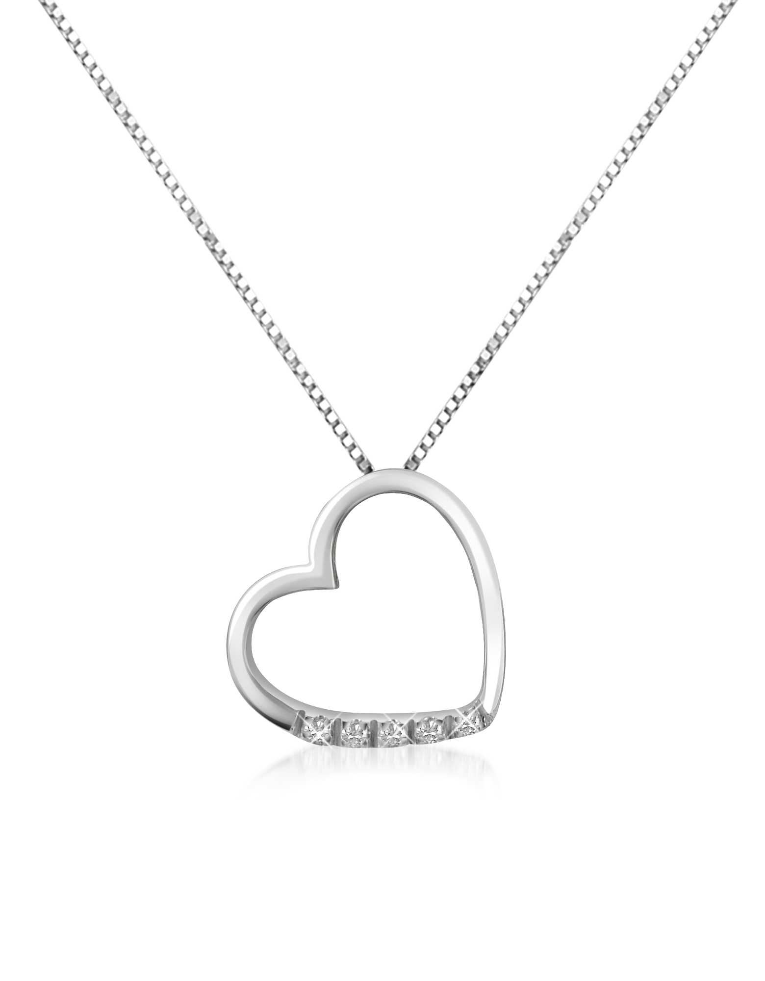 Image of 0.03 ct Diamond Floating Heart 18K Gold Necklace