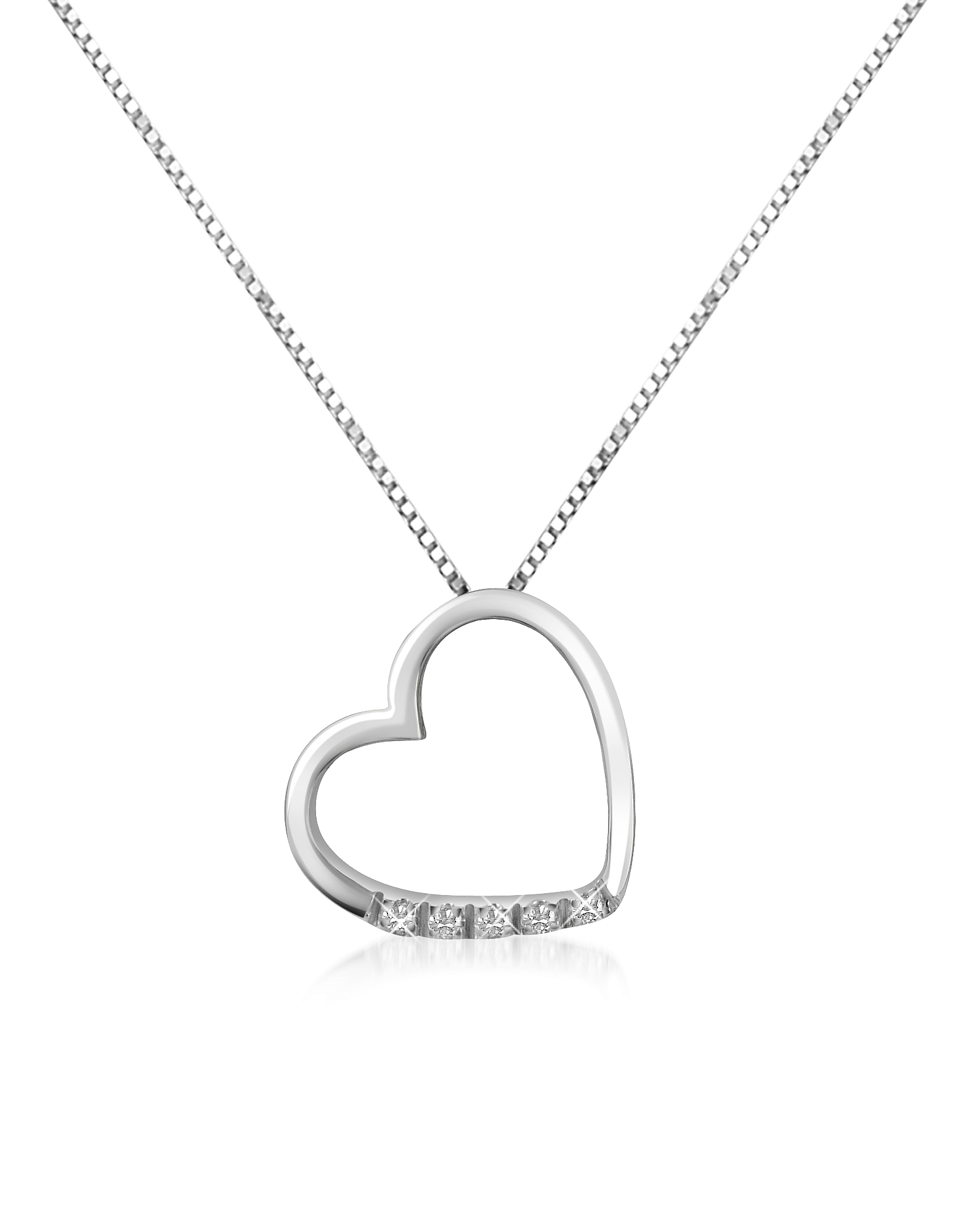 Forzieri Necklaces, 0.03 ct Diamond Floating Heart 18K Gold Necklace