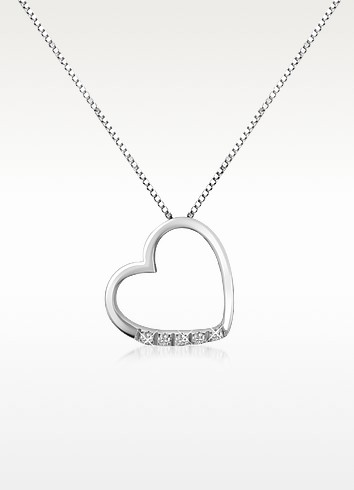 0.03 ct Diamond Floating Heart 18K Gold Necklace - Forzieri