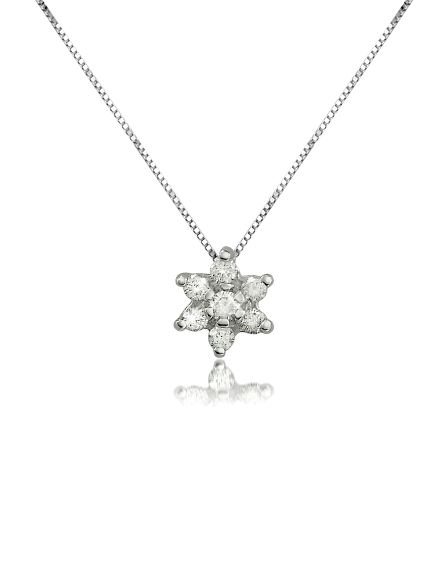 Image of 0.11 ct Diamond Flower 18K Gold Pendant Necklace