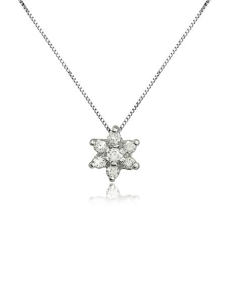 Forzieri Princess - Collier en or 750 avec pendentif fleur et diamant 0.11 Ct