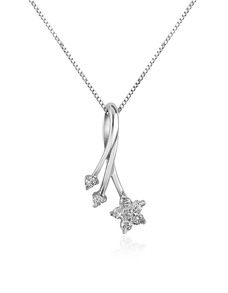Foto Forzieri Princess - Collana in Oro Bianco 18ct con Pendente Fiore e Foglie in Diamanti 0.125 ct Collane