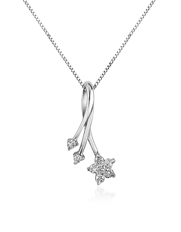 Forzieri - 0.125 ct Diamond Flower 18K Gold Pendant Necklace