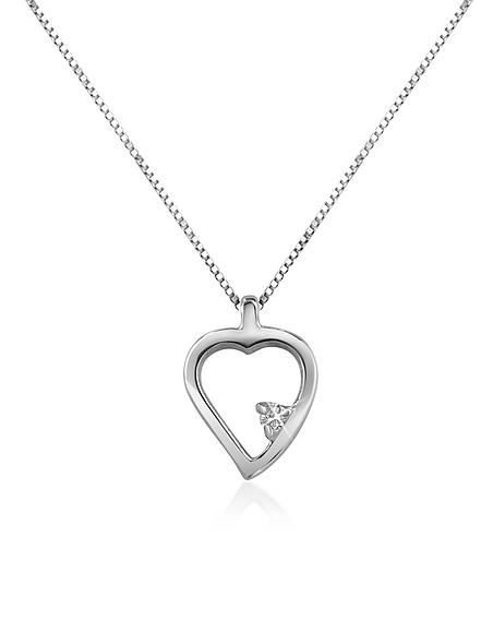 Forzieri Princess - Collier en or 750 avec pendentif cœur et diamant 0.015 Ct