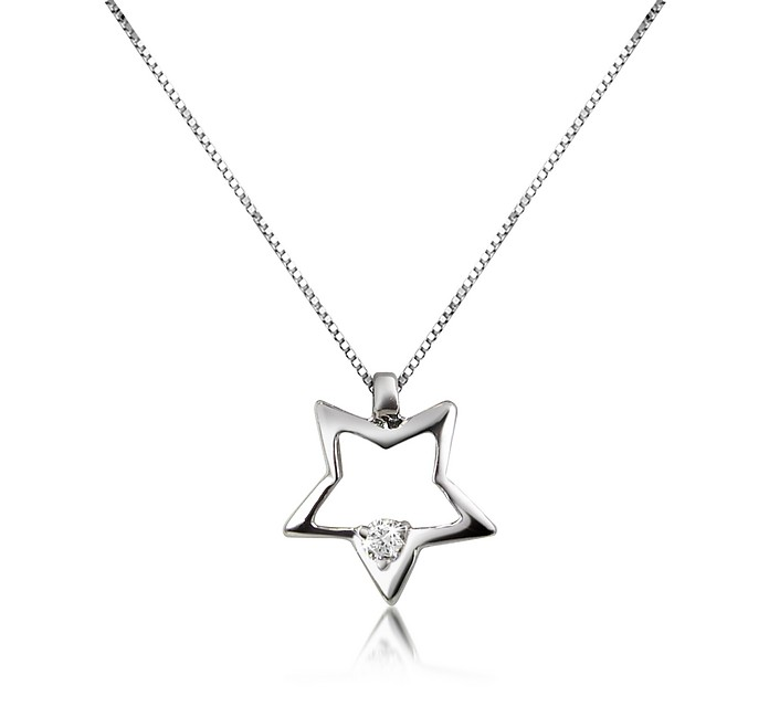 0.02 ct Floating Diamond Star Pendant 18K Gold Necklace - Forzieri