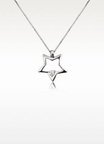 0.02 ct Floating Diamond Star Pendant 18K Gold Necklace - Forzieri