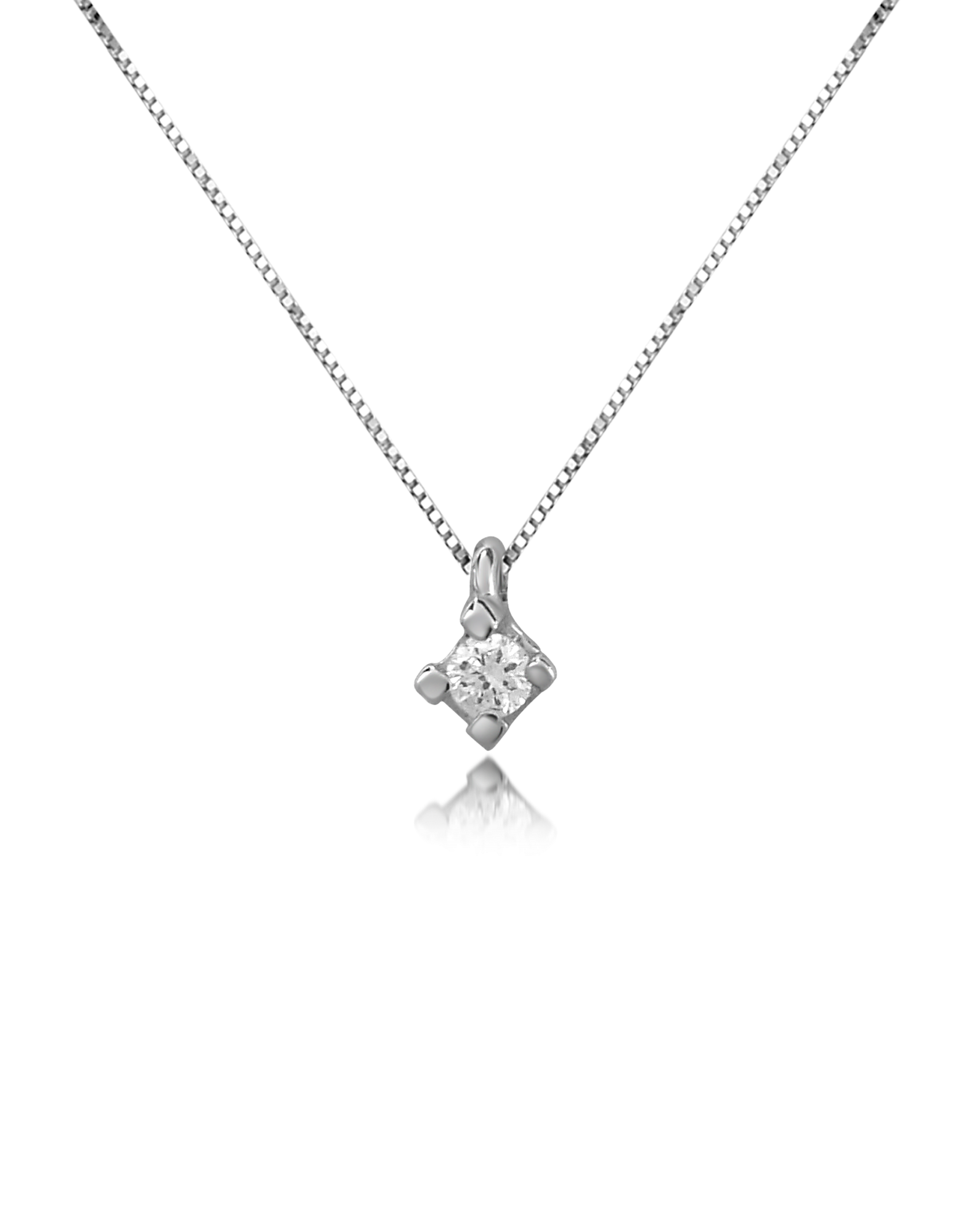 Image of 0.03 ct Diamond Solitaire Pendant 18K Gold Necklace