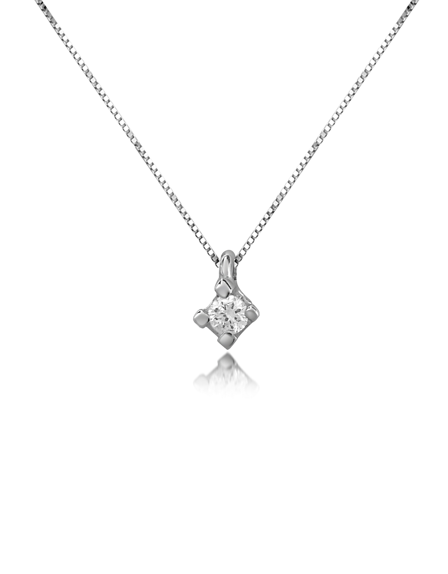 Forzieri Necklaces, 0.03 ct Diamond Solitaire Pendant 18K Gold Necklace