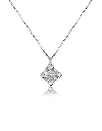 Forzieri - 0.15 ct Diamond Solitaire Pendant 18K Gold Necklace
