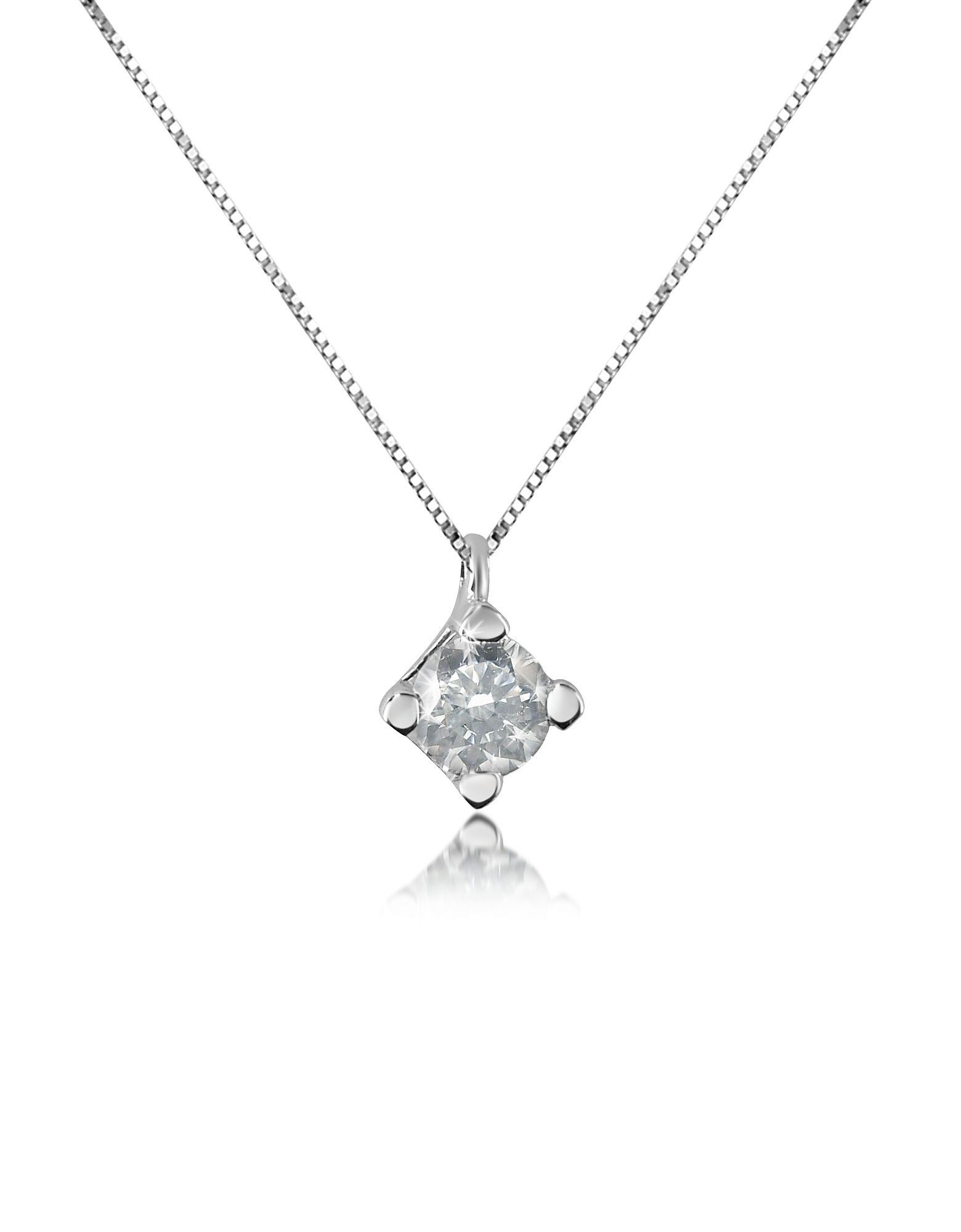 Forzieri Necklaces, 0.15 ct Diamond Solitaire Pendant 18K Gold Necklace
