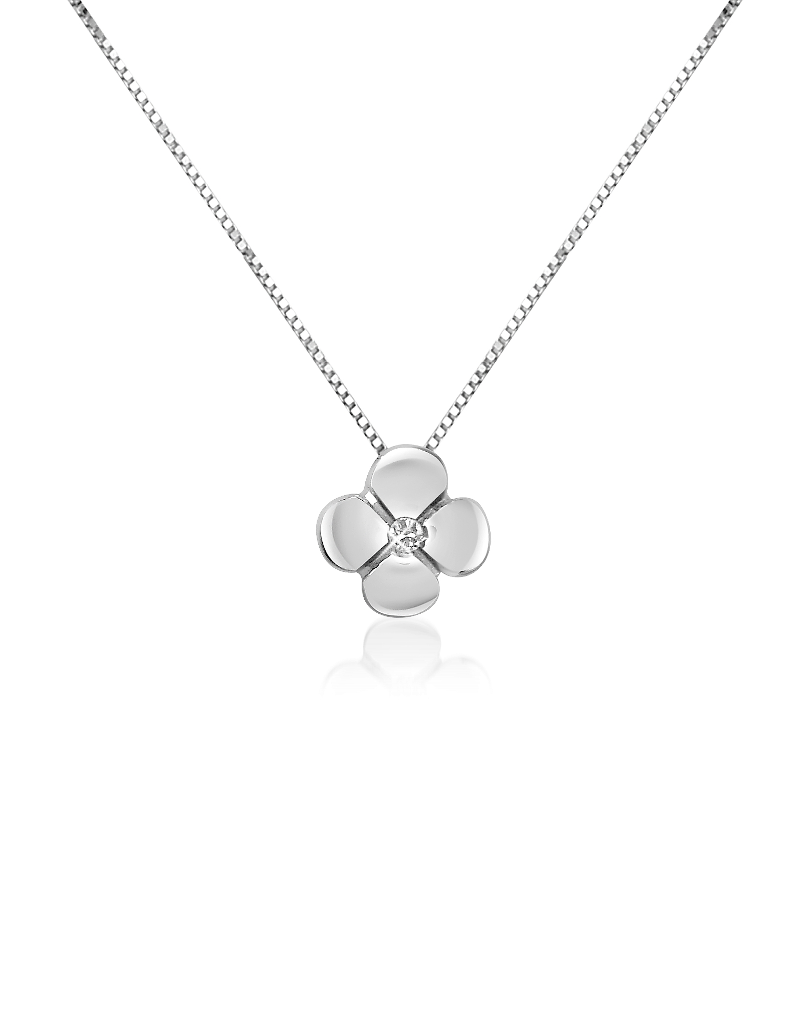 Forzieri Necklaces, 0.15 ct Diamond Flower Pendant 18K Gold Necklace