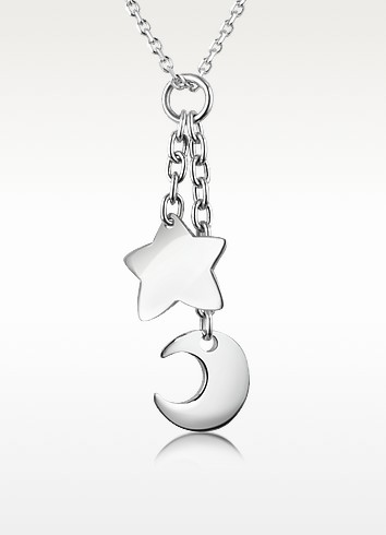 Sterling Silver Moon and Star Charm Necklace - Forzieri