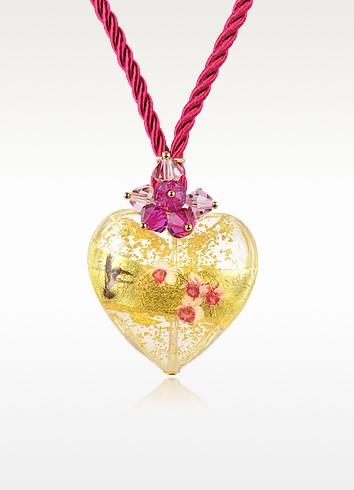 Sterling Silver Murano Glass Heart Pendant Necklace - Briciole d'Oro