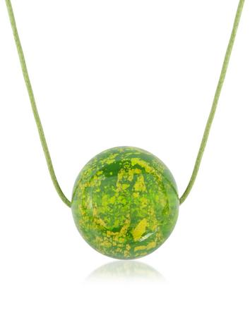 Forzieri Briciole d'Oro - Murano Glass Round Pendant w/Lace
