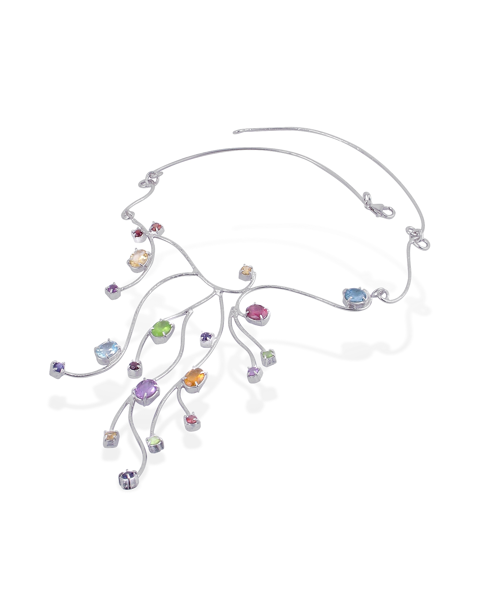 Forzieri Necklaces, Sterling Silver Multi-Gemstones Necklace