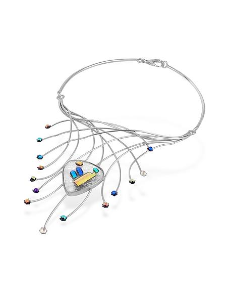 Forzieri Halskette aus Sterling Silber mit Feurwerk- Glassteinen