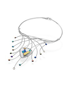 Fireworks Glass Stones Sterling Silver Necklace - Forzieri