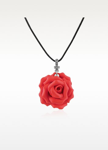 Hand Made Rose Sterling Silver Pendant w/Lace - Forzieri