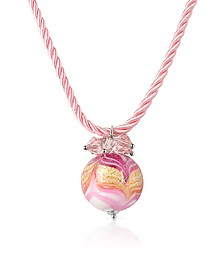 Mare - Pink Murano Glass Ball Pendant Necklace - House of Murano