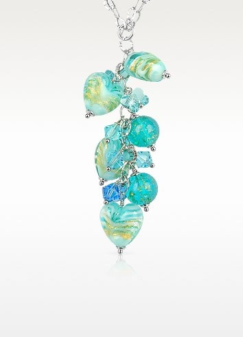 Mare - Turquoise Murano Glass Heart Drop Necklace  - House of Murano