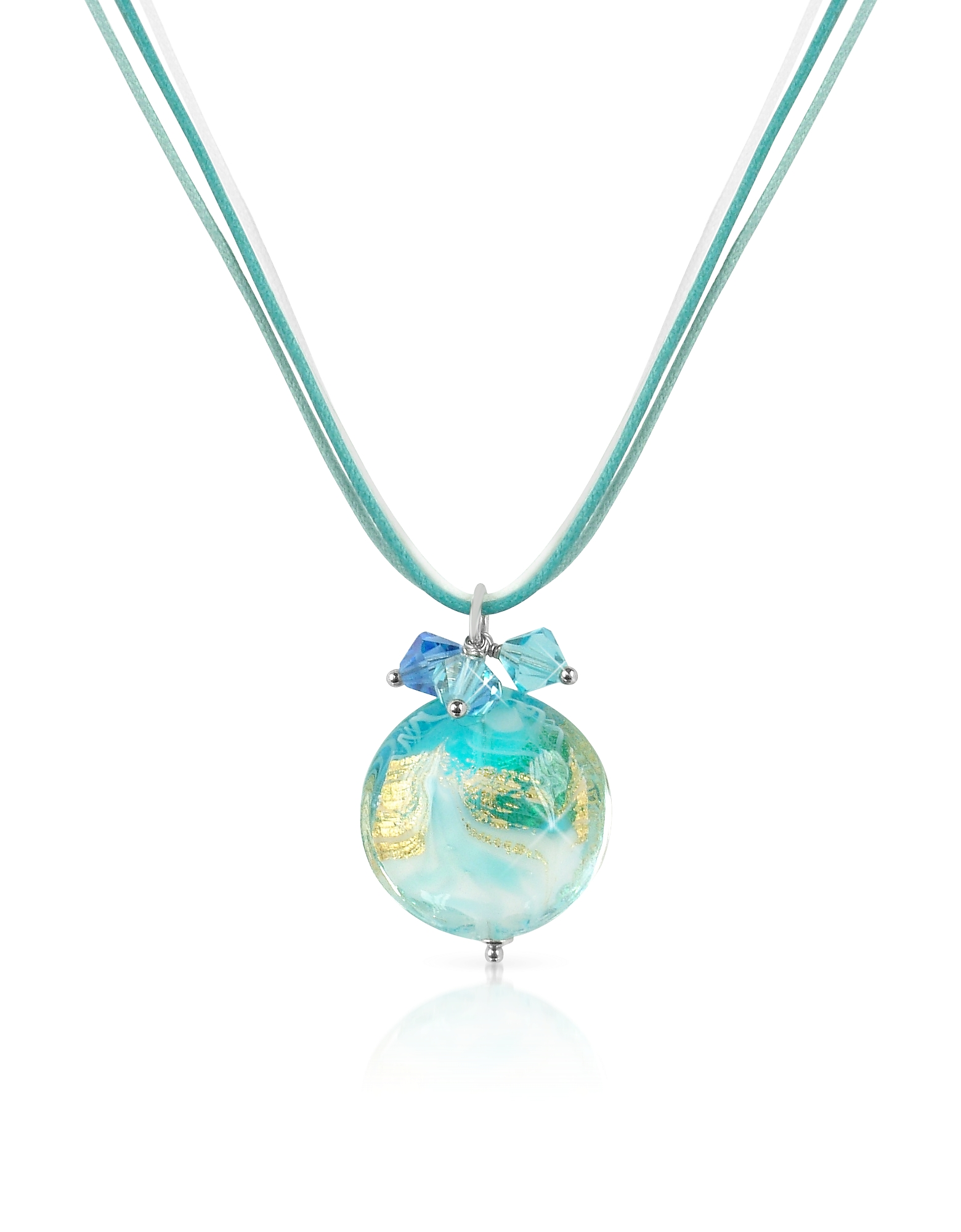 House of Murano Designer Necklaces, Mare - Turquoise Murano Glass Pendant w/ Lace
