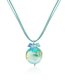 Mare - Turquoise Murano Glass Pendant w/ Lace - House of Murano