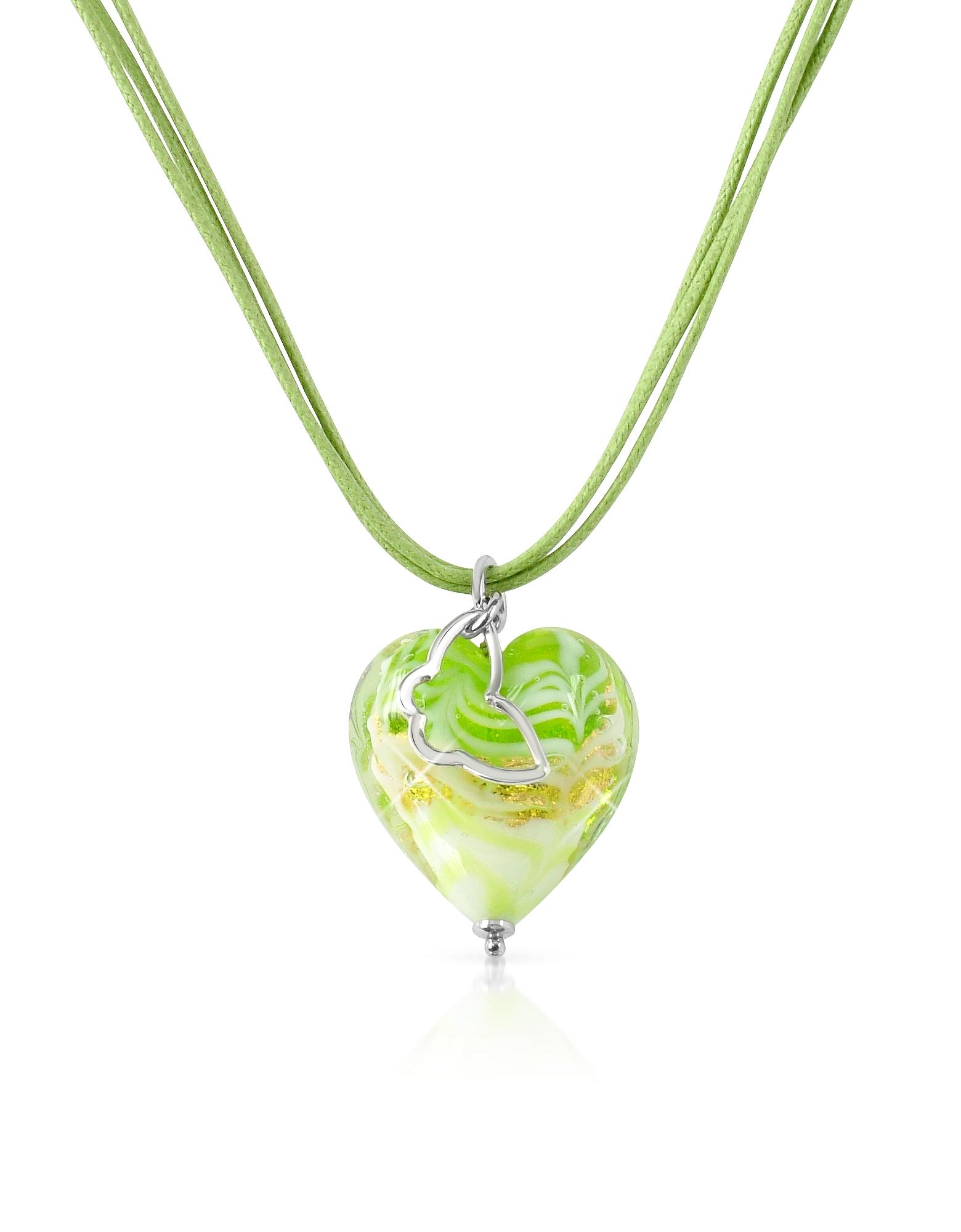 Mare - Колье с Лимонно-зеленой Подвеской-Сердцем из Стекла Мурано