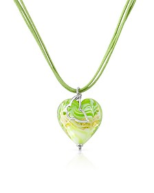 Mare - Lime Murano Glass Heart Pendant Necklace - House of Murano