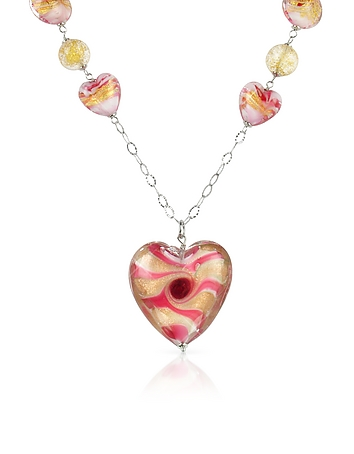 House of Murano - Vortice - Pink Murano Glass Swirling Heart Sterling Silver Necklace