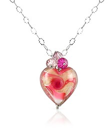 Vortice - Pink Murano Glass Swirling Heart Sterling Silver Necklace - House of Murano