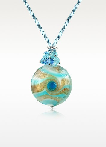 Vortice - Turquoise Murano Glass Swirling Bead Necklace - House of Murano