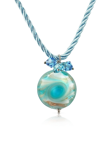 House of Murano - Vortice - Turquoise Murano Glass Small Swirling Bead Necklace