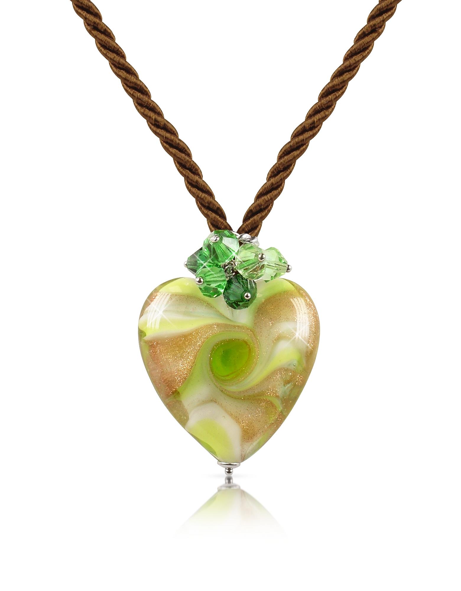 Vortice - Колье с Подвеской-Сердцем из Стекла Мурано Лимонно-зеленого Оттенка