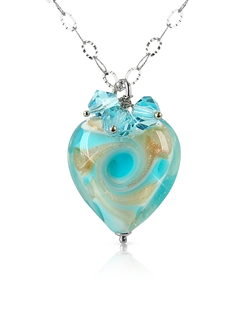 House of Murano - Vortice - Turquoise Murano Glass Swirling Heart Sterling Silver Necklace