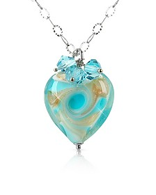 Vortice - Turquoise Murano Glass Swirling Heart Sterling Silver Necklace - House of Murano