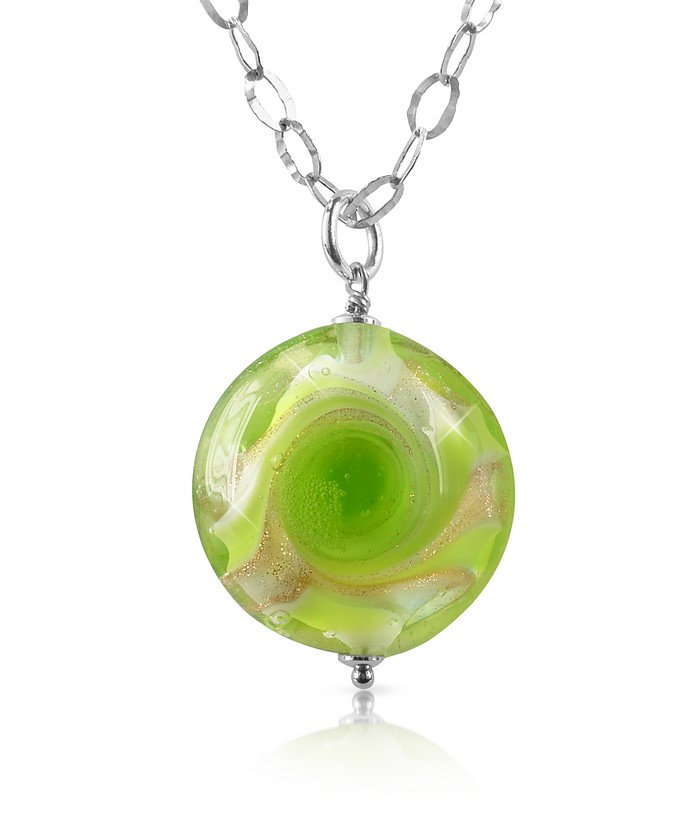 Vortice - Lime Murano Glass Swirling Bead Sterling Silver Necklace - House of Murano