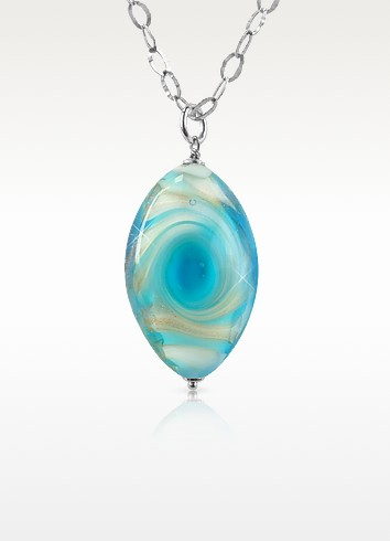 Vortice - Turquoise Murano Glass Swirling Drop Sterling Silver Necklace - House of Murano