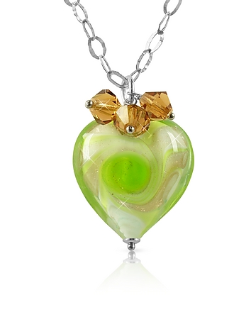 House of Murano - Vortice - Lime Murano Glass Swirling Heart Sterling Silver Necklace